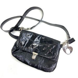 Coach | Patent Leather Black Crossbody Bag Hearts